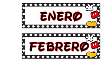 Mickey Inspired Calendar Month Cards in Spanish