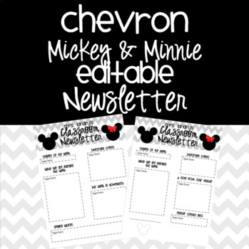 Mickey and Minnie Classroom Newsletter {EDITABLE}