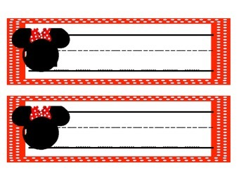 Disney -Mickey and Minnie Head Name Tags