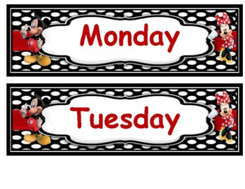 Mickey and Minnie days of the week and months of the year.
