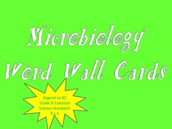Microbiology Word Wall Cards (NC Grade 8 Essential Science