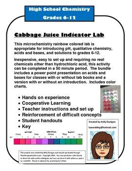 Microchemistry Indicator Lab - Cabbage Juice pH of common