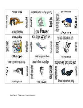 Microscope Vocabulary Puzzles