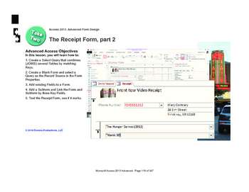 Microsoft Access 2013 Advanced: The Receipt Report, part 1