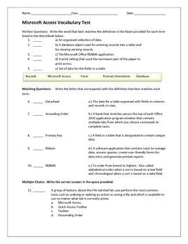 Microsoft Access Vocabulary Test