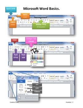 Microsoft Word 2010. Handouts A-E For Elementary Students.