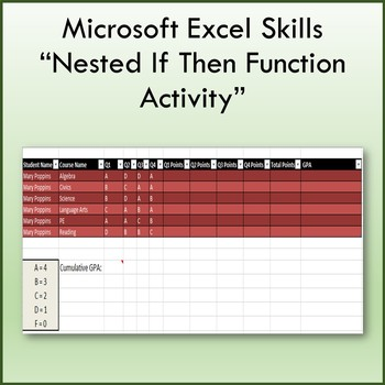 Microsoft Excel 2013 Nested If Then Function Lesson