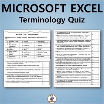 Microsoft Excel 2013 Vocabulary Quiz and Word List
