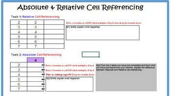 Excel - Absolute Cell Referencing Spreadsheet Tasks