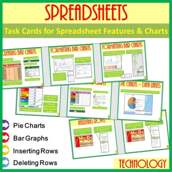 Microsoft Excel Spreadsheet Features & Chart Task Cards He