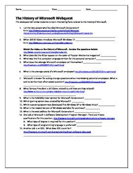 Microsoft Facts Webquest