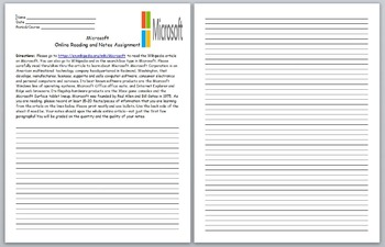 Microsoft- Microsoft Online Reading and Notes Assignment-