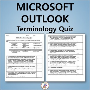 Microsoft Outlook 2013 Vocabulary Quiz and Word List