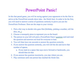 Microsoft PowerPoint Panic Review Game