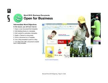 Microsoft Word 2010 Intermediate: Open for Business
