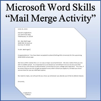 Microsoft Word 2013 Skills - Mail Merge Lesson