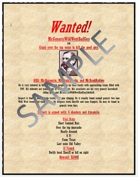 Microsoft Word 2013 Skills - Wanted Poster Lesson