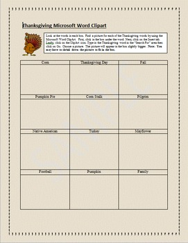 Microsoft Word Clipart Activity:  Thanksgiving