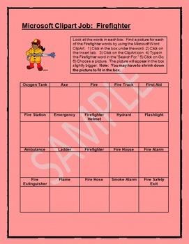 Microsoft Word Clipart Job:  Firefighter
