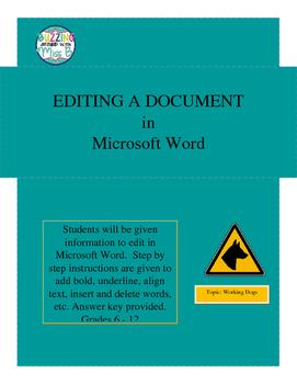 Microsoft Word Editing Activity