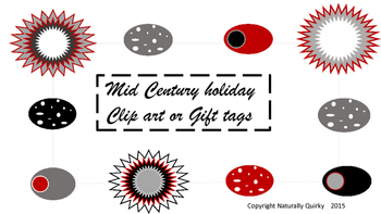 Mid Century Modern  HOLIDAY tags / clip art
