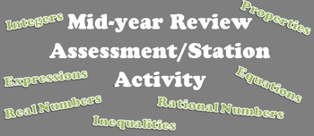 7th grade Mid-Year midterm Review Assessment/Stations Activity