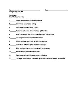 Midde Ages Quiz
