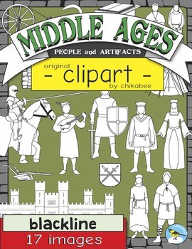 Middle Ages People and Artifacts Clip Art (BLACKLINE ONLY)