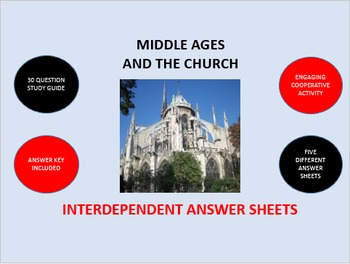 Middle Ages and the Church: Interdependent Answer Sheets Activity