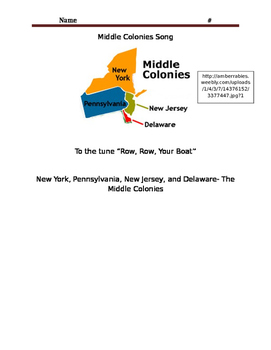 Middle Colonies Song