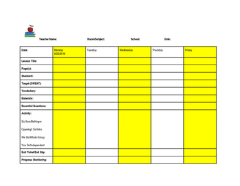 Middle/High School Weekly Lesson Plan Template