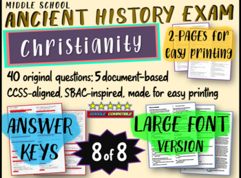 Middle School Ancient History Exams - CHRISTIANITY - 40 Qs