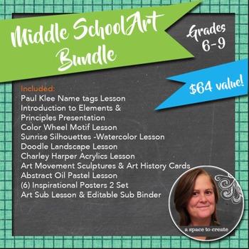 Middle School Art Lesson Mega Bundle for Grades 6-9