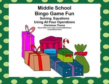 Middle School Bingo Game-Algebra-Solving Equations -All 4