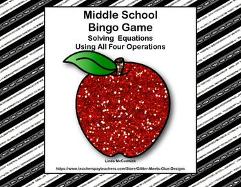Middle School  Bingo Game -Algebra-Solving Equations -Putt