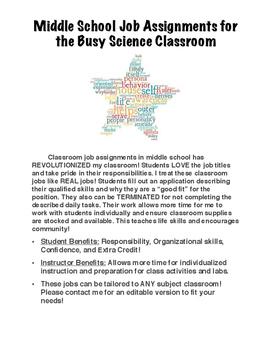 Middle School Classroom Job Assignments!