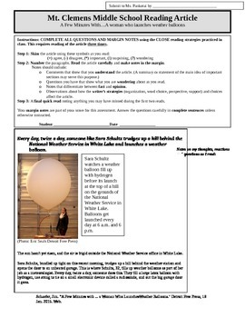 Middle School Close Reading Activity (female scientists #1)