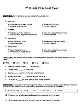 Middle School ELA Final Exam (editable) MULTIPLE CHOICE!