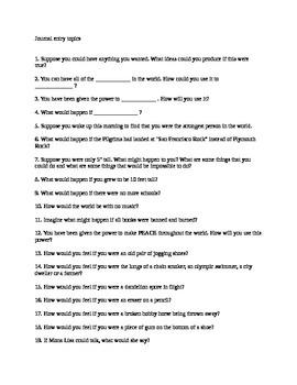 Middle School ELA Journal prompts