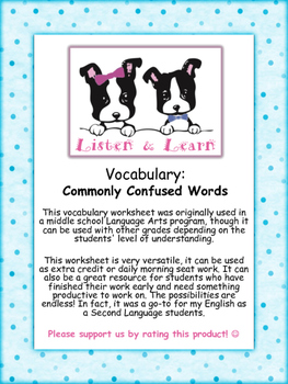 Middle School English - Vocabulary Worksheet - Commonly Co