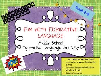 Figurative Language Matching Activity- Middle School Langu