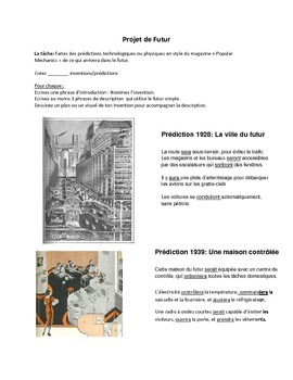Middle School French/Immersion Futur Simple Project