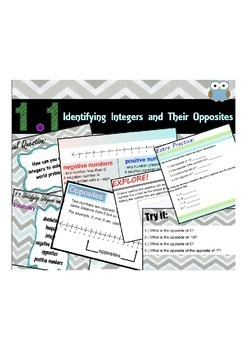 Middle School Go Math Module 1.1 Identifying Integers and