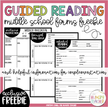 Middle School Guided Reading and Small Group Anecdotal Note Pages