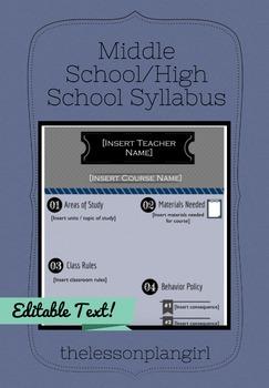 Middle School/High School Syllabus Template [Dark Blue]