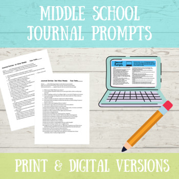 Middle School Journals Prompts- A Full Year
