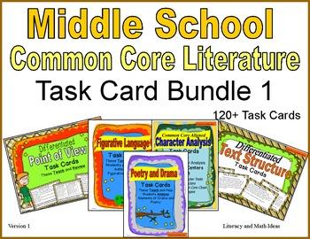 Middle School Literature Task Card Bundle 1
