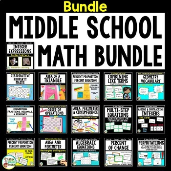 Middle School Math Bundle With Hands-On Foldables & Task Cards