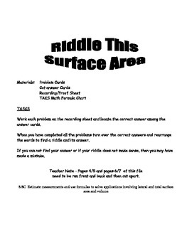 Middle School Math Center: Measurement and Surface Area an