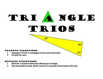 Middle School Math Center: Triangle Trios with Pictures Ma